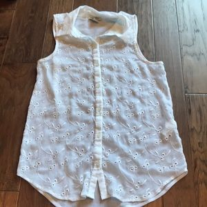 Lucky Brand Collared White Blouse